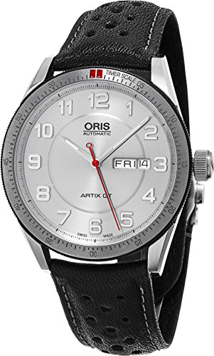 Oris Artix GT Day Date Silver Dial Black Leather Mens Watch 01 735 7662 4461-07 5 21 87 FC