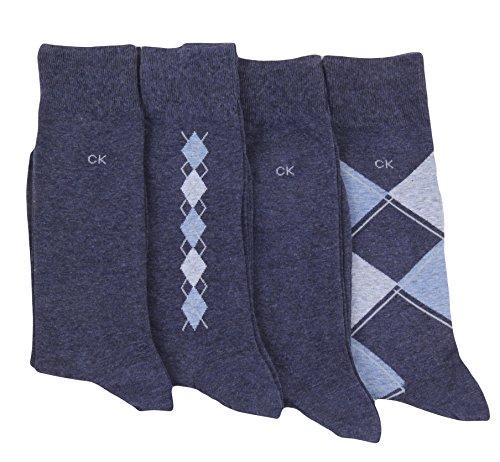 Calvin Klein Men's Argyle Crew Socks- 4 Pack (Shoe: 7-12, Denim Heather) by Calvin Klein