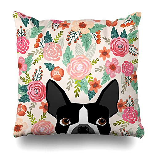 (Ahawoso Throw Pillow Cover Square 20x20 Inches Boston Terrier Florals Pattern Print Flowers Spring Summer Cute Dog Portrait Art Print Dog Breed Decorative Pillow Case Home Decor Pillowcase)