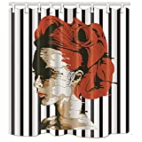 NYMB Watercolor Sex Woman with Red Hair in Black White Stripes Bath Curtain, Mildew Resistant Fabric Shower Curtains for Bathroom, 69X70in, Shower Curtains Hooks Included