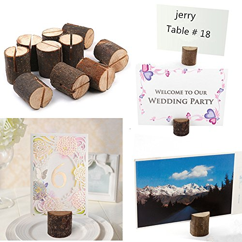 Rustic Wood Table Numbers Holder Wood Place Card Holder Party Wedding Table Name Card Holder Memo Note Card (10 pcs) Photo #3