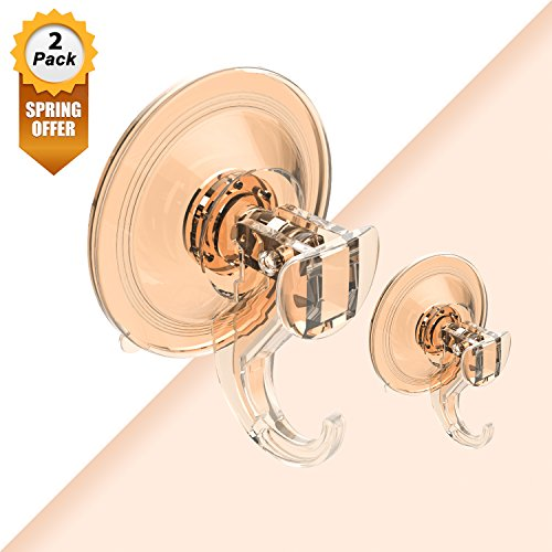Suction Cup Hook, Quntis Shower Suction Hooks Heavy Duty Suction Hooks for Towel Loofah Sponge Key Coat Backpack String Lights Plastic Wreath Hanger Home Kicthen Wall Hook, 2 Pack Amber (Pack Hooks Suction)