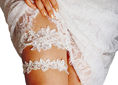 Lace Bridal Garter Set - YuRong Wedding Garter Set Sequins Floral Bridal Pearls Garter Set G35 (White)