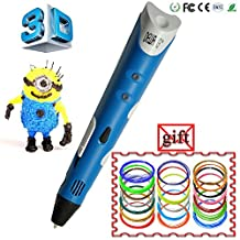 DEWANG® 3D Blue Printing Pen With US Adapter + FREE GIFT 100 meters PLA Filament (20 Colors in Random)