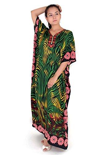 Nouvelles dames Maxi longue vêtements de nuit lingerie de nuit tunique Kimono soirée Plus caftan taille taille 38-56 (EU 46-50, 31280-Vert)