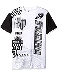 Men's Short Sleeve Graphic Tee with Solid Sleeves