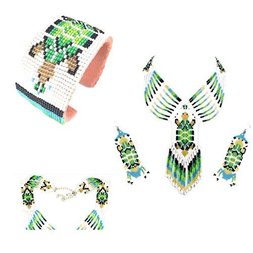 (Native American Style Beaded Jewelry Set Necklace Earrings Bracelet Handmade (Green))