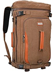 WSHIHAOM Canvas Rucksack Laptop Outdoor Backpack Travel Hiking Daypack
