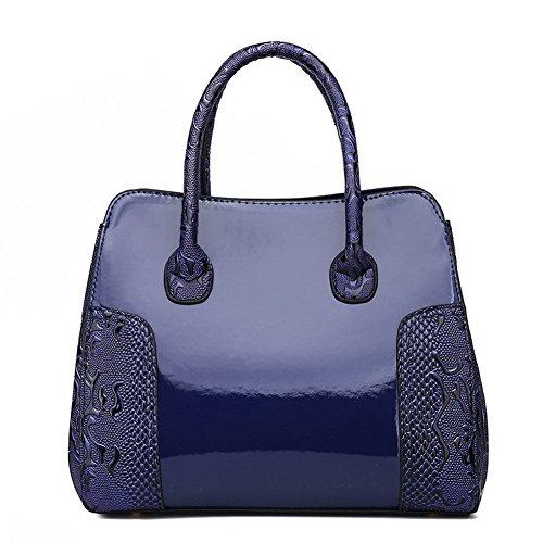 AalarDom Mujeres Tote-Style Pu Bolsas de hombro Moda Casual Bolsos cruzados,TSMBH181228,Marrón Azul