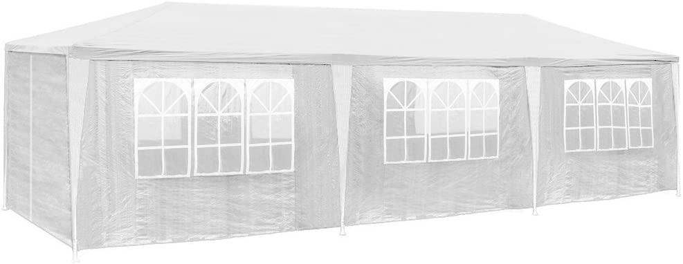 tectake 800085 Tonnelle Tente Gazebo Pavillon de Jardin d\'événement pour  fête 9x3 m - diverses Couleurs au Choix - (Blanc | no. 400934)