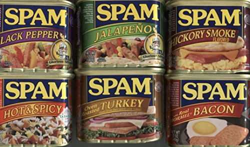 (Spam Bundle of 6 Different Flavors: Hot and Spicy, Hickory Smoked, Bacon, Jalapeno, Turkey, and Black Pepper,)