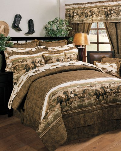 Wild Horses 6 Pc TWIN Comforter Set and set of Two Matching Window Valances (Comforter, 1 Flat Sheet, 1 Fitted Sheet, 1 Pillow Case, 1 Sham, 1 Bedskirt, 2 Window Valances) SAVE BIG ON BUNDLING!
