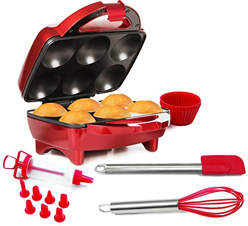 Holstein Housewares HF-09013R-M-BU Fun Cupcake Maker with 16 Piece Accessory Set - Metallic Red