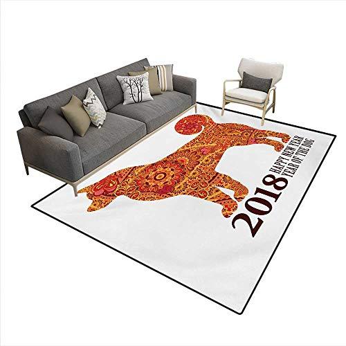 Print Calendar Heart - Carpet,Canine Design Blooming Flowers Hearts 2018 Festive Asian Calendar,Print Area Rug,Multicolor,6'x8'