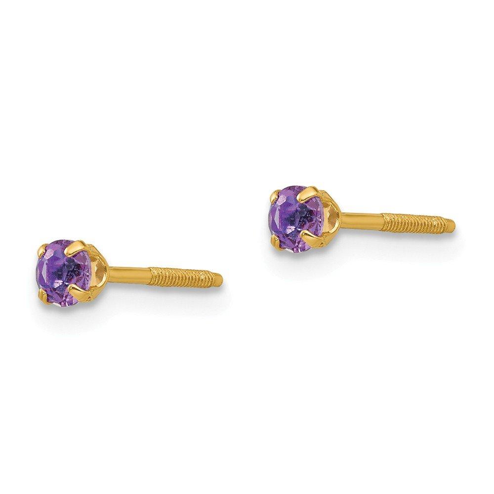 14K Madi K 3mm Synthetic Amethyst Birthstone Earrings