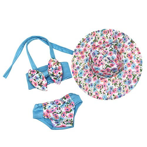 MagiDeal Adorable Blue Floral Bowknot Swimsuit with Hat Outfit for 18'' American Girl Journey Doll Clothes Accessories Kids Toy