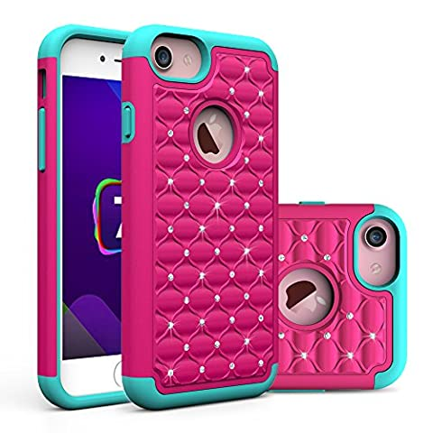 iPhone 7 Case, Asstar Hybrid Defender Dual Layer Protection Slim Trendy Hard Studded Rhinestone Crystal Bling Scratch Protection Hybrid Armor Case for Apple iPhone 7(2016) (rose (Otterbox Privacy Screen Iphone 5)
