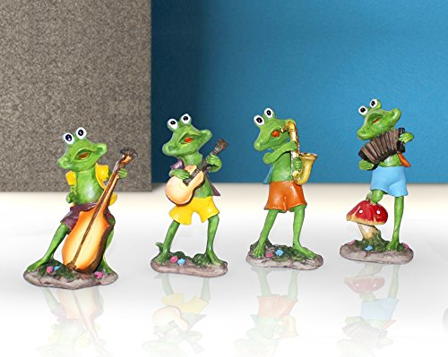 TIED RIBBONS Frogs Playing Musical Instruments Decoration Items for Home décor, Office Decoration, Gifts, Drawing Room (Set of 4)