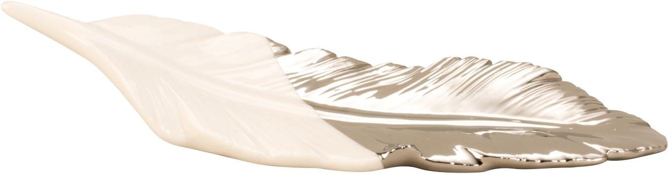 argento lunghezza 23 cm Scultura moderna piuma di uccello in ceramica bianca