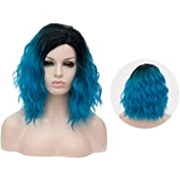 Frcolor Pastel Blue Wig Natural Hair Wigs Curly Synthetic Wigs lace Front Cosplay Hair Wigs