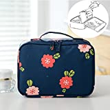 LANGUGU Waterproof 2 Layer Large Capacity Cosmetic Bag Portable Makeup Brush Organizer Kit Multifunctional Vacation Travel Home Toiletry Cute Printed Pouch for Little Young Girl (Flowers)