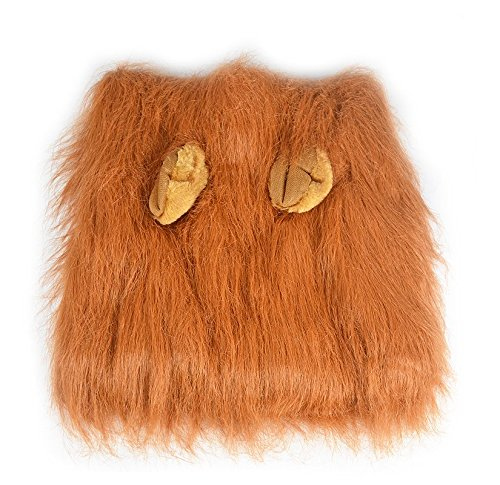 HTKJ Dog Lion Mane Costume Cute Adjustable Washable Pet Wig Hat for Dog Clothes Dress up Halloween Christmas Easter Festival Party Activity (Dog-Brown with ear) by HTKJ (Image #2)