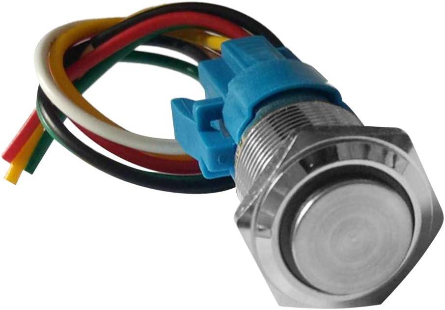 perfk 6pcs Interrupteur /à Bouton-poussoir dAuto 220V LED 16mm IP65