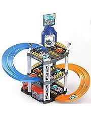 Speelgoed racebaan parkeerhuis incl. 2 x speelgoedauto