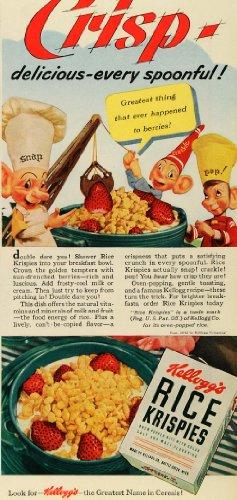 Crackle Pop (1942 Ad Vintage Snap Crackle Pop Kelloggs Rice Krispies - Original Print Ad)