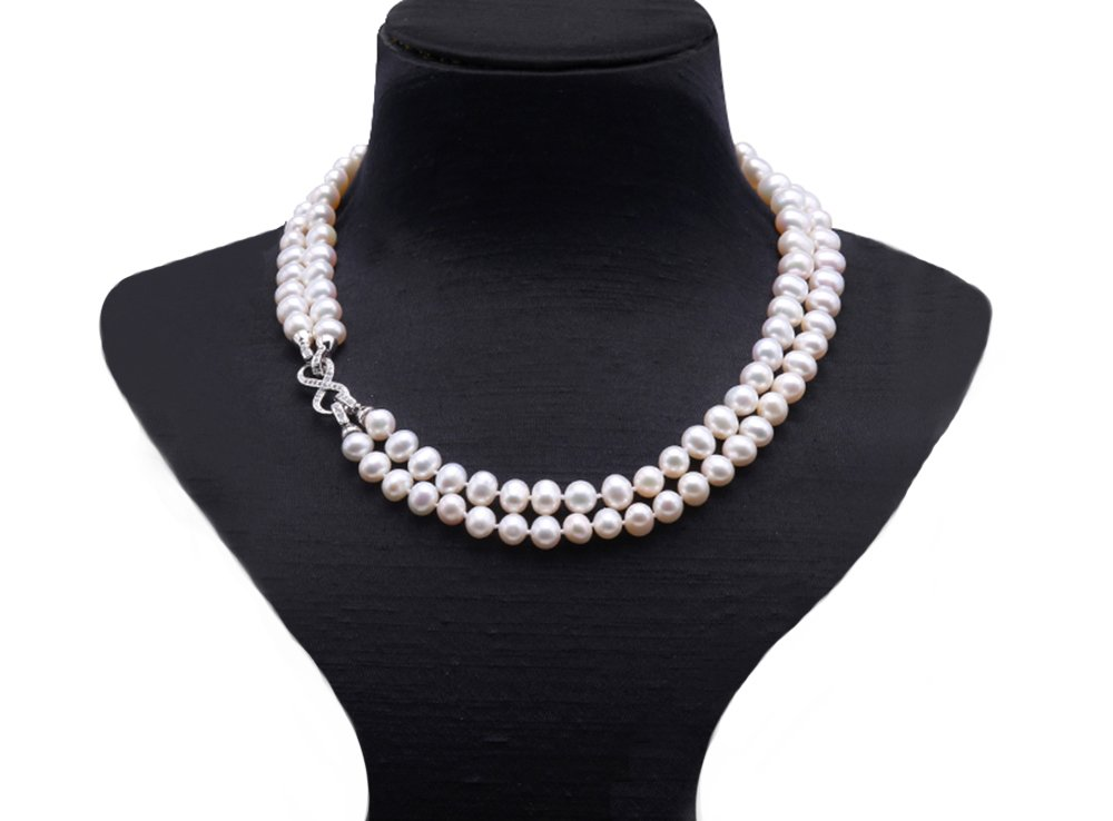 JYX 9.5-10mm White Freshwater Pearl Necklace Strand with Multiple-use