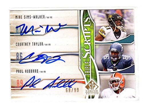 2009 Upper Deck SP Signature Mike Sims-walker Courtney Taylor Paul Hubbard #TR-TWH NM Near Mint Auto 68/99