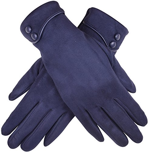 Lady In The Navy Gloves (Winter Driving Gloves Women Fashion Smartphone Glove Windproof Solid Color Navy)