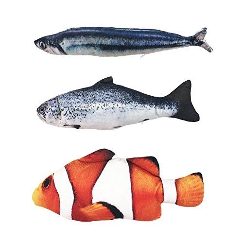 Ruri's 3 Pack Catnip Toys for Cat Simulation Plush Fish Shape Doll Artificial Fish Toy Interactive Pets (Catnip Plush Fish)