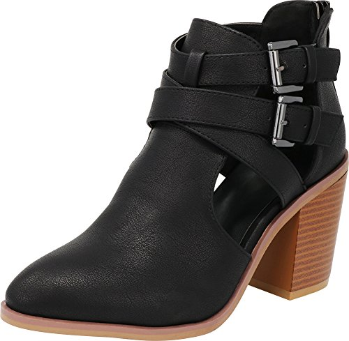 Cutout Pu Ankle Stacked Block Black Chunky Side Bootie Select Cambridge Heel Buckle Women's Strappy qfaf6ZO