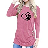 HOOUDO Women Blouse Fashion O-Neck Appliques Long Sleeve Loose Tops T-Shirt Pullover (L,3#Pink)