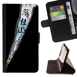 For Sony Xperia Z1 L39 - Design Zipper Sky Message /Funda de piel cubierta de la carpeta Foilo con cierre magn???¡¯????tico/ - Super Marley Shop -