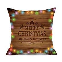 Christmas Pillow Case, Elogoog Comfortable Cotton Funny Christmas Cushion Cover Sofa Bed Home Decor Pillowcase (18 x 18 Inches, A)