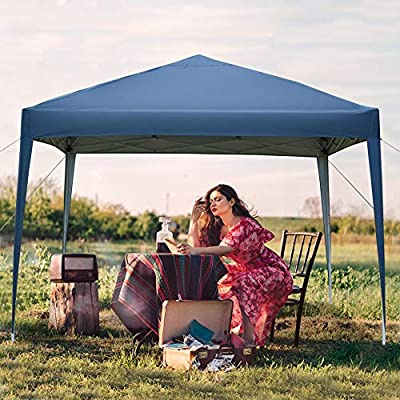 Outdoor Portable Lightweight Folding Instant Pop Up Gazebo Canopy Shade Tent Adjustable Height, Wind Vent, Carrying Bag, 3 x 3m - Blue : Garden & Outdoor