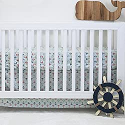 Pam Grace Creations 2 Piece Nautical Basics Crib Bedding Set, Blue/Red