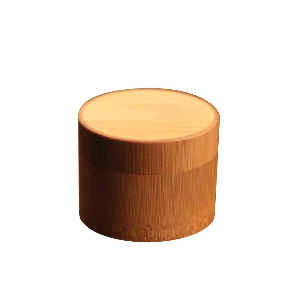 Brownrolly bambù Naturale Sale e spezie Scatola con Coperchio Girevole, Portable Travel tè Copertura, Forma Rotonda sigillato Tea Box Tubo Barattolo da Cucina con Accessori, A