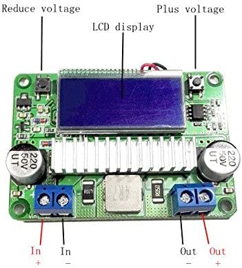 NARJOG Winners 3A DC-DC Adjustable Boost Power Supply Module With Dual LCD Display Voltage Ammeter No Housing