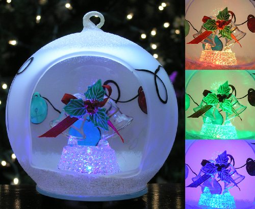 Christmas Ball Ornament - Glass Ornament with Bells and Holly - Hand Painted Xmas Ornament - LED Light Up Ornaments