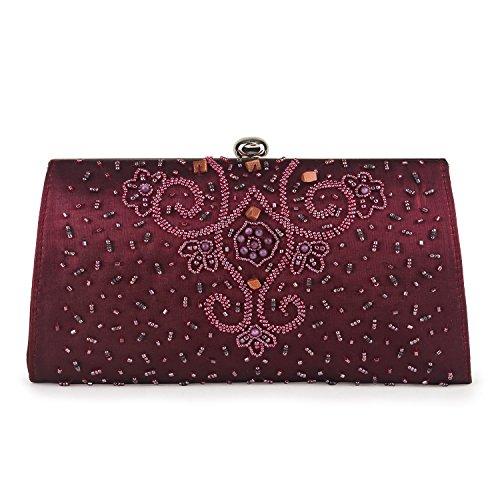 Farfalla 90581 - Bolso estilo sobre de satén mujer rojo - marrón
