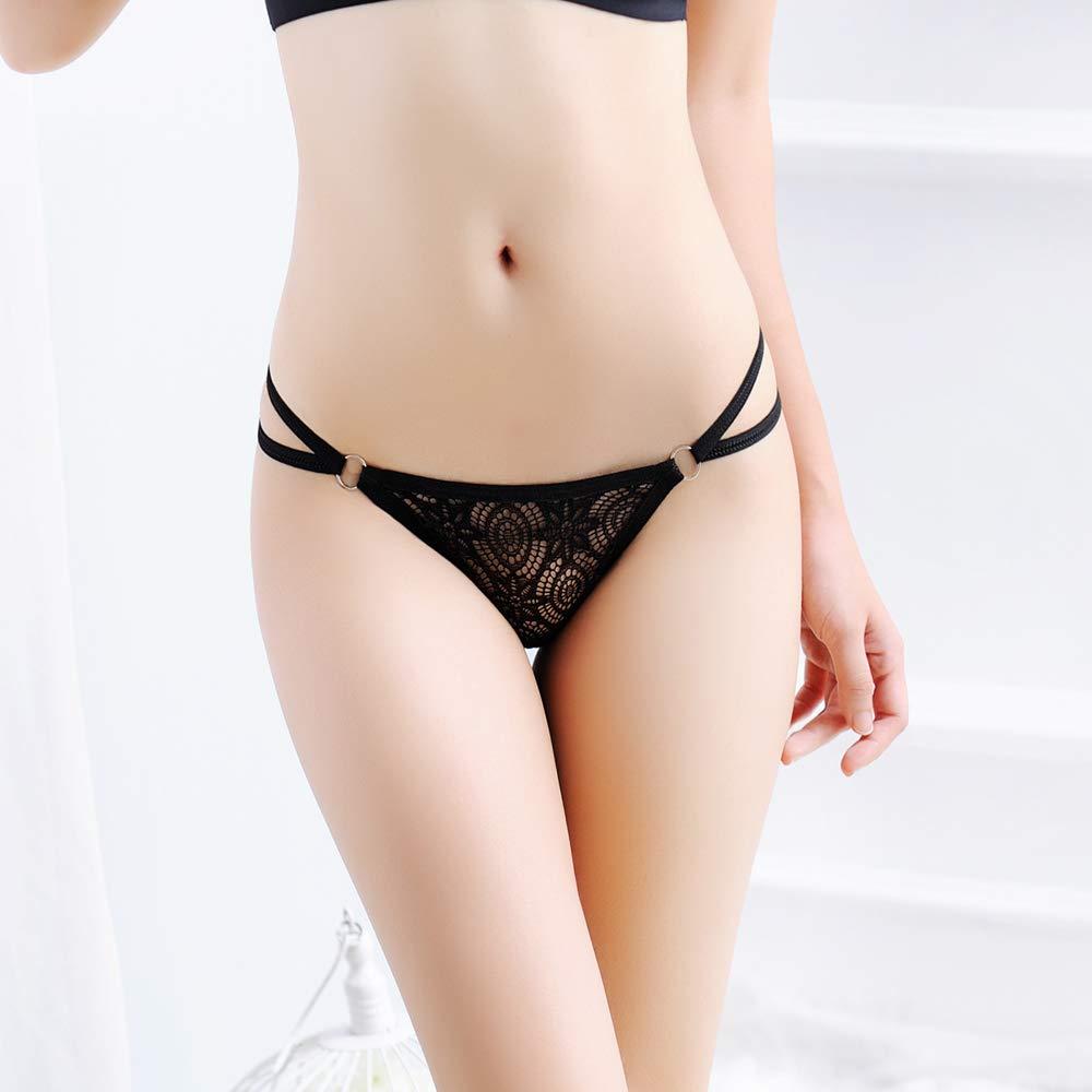 Laise Vie Women\'s Sexy Lace Condole Belt Lingerie Low Rise T-Back Panties G-String Thongs Underwear Black Color 3 Styles Panties 3 Pack