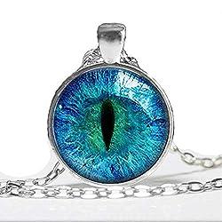 Collar de ojo de gato azul - Colgante de ojo brillante - Imagen de plata luminosa Joyas brillantes Regalos para mujeres Brillan en la OSCURIDAD