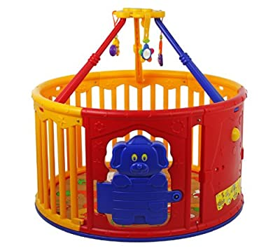 Dream On Me Deluxe Circular Playard with Jungle Gym, Red/Yellow by Dream On Me