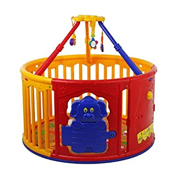Dream On Me Deluxe Circular Playard with Jungle Gym, Red/Yellow