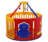 Dream On Me Deluxe Circular Playard with Jungle Gym, Yellow/Red For Sale