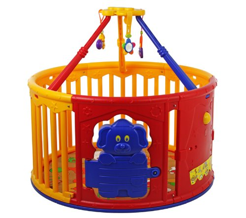 Dream On Me Deluxe Circular Playard with Jungle Gym, Yellow/Red