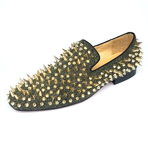 Men's Loafer Shoes Leather Slippers Flats With Gold Spikes and Red Bottom Slip-On Dress Shoes New (10, Gold) by Justyourstyle